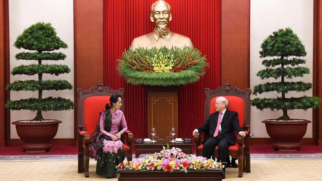 State Counsellor Daw Aung San Suu Kyi meets with Mr. Nguyen Phu Trong, General Secretary of the Communist Party of Viet Nam. Photo: MNA
