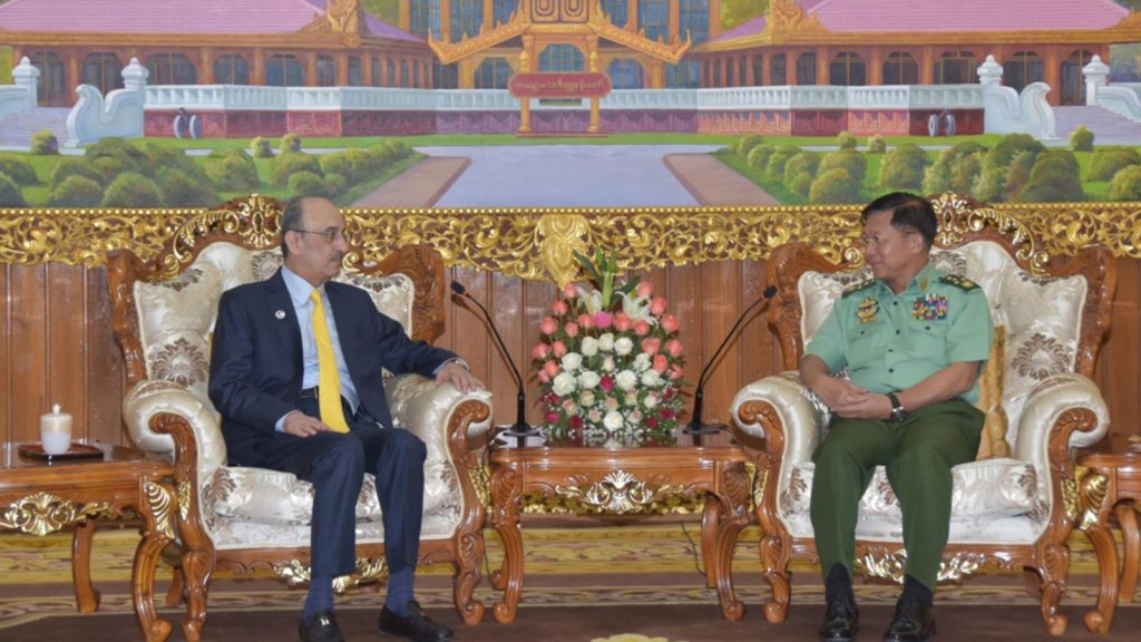 C-in-C Defence Services Senior General Min Aung Hlaing meets with Qatar Ambassador Mr. Hassan Bin Mohamed Rafei Al-Emadi in Nay Pyi Taw yesterday Photo: MNA
