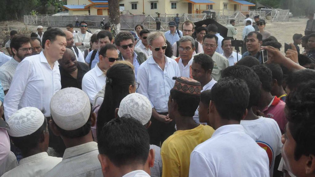 Members of the United Nations Security Council delegation meet with local people from Islamic community in Maungtaw.Photo: Han Lin Naing