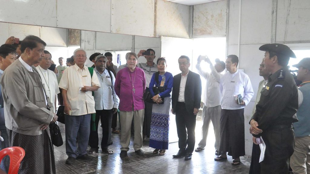 Members of the Interfaith delegation visit office of the Immigration Department in Taung Pyo Letwe Reception Centre.Photo: MNA
