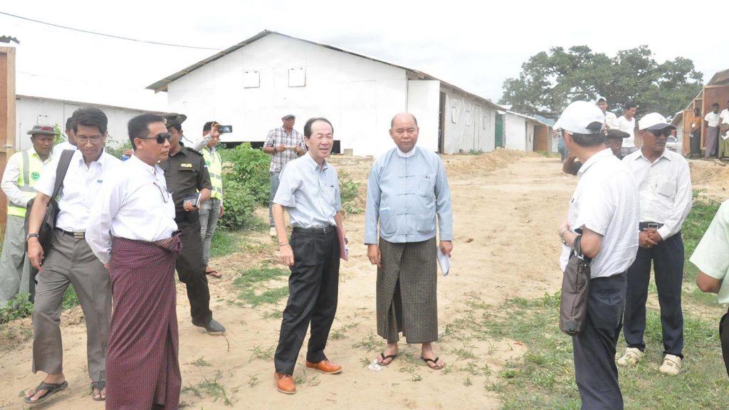 Deputy Minister for the State Counsellor's Office U Khin Maung Tin and Japanese Ambassador Mr. Ichiro Maruyama visit Hla Pho Khaung transit centre in Maungtaw.Photo: MNA