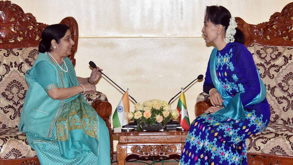 State Counsellor Daw Aung San Suu Kyi holds talks with External Affairs Minister of India Smt. Sushma Swaraj in Nay Pyi Taw.Photo: MNA