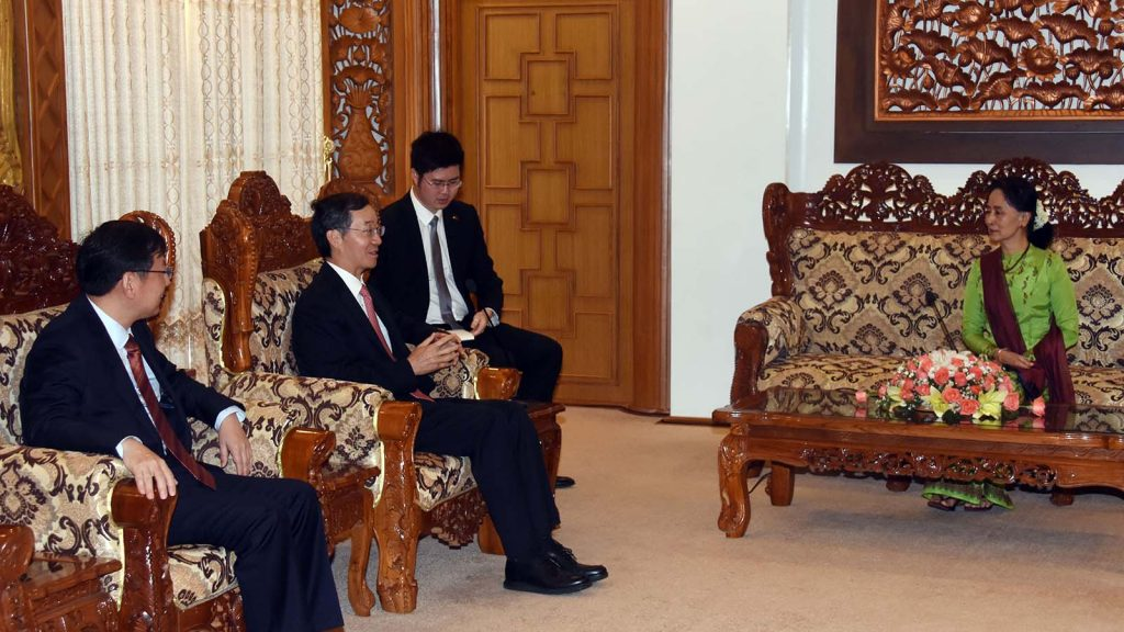 State Counsellor Daw Aung San Suu Kyi meets with Chinese Special Envoy for Asain Affairs Mr. Sun Guoxiang in Nay Pyi Taw yesterday.Photo: MNA