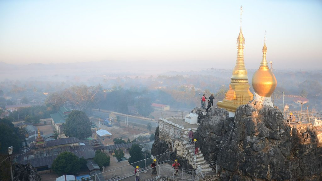 Thiri-Mingalar Taung-kwe Pagoda, famous religious landmark of Loikaw.  With unspoiled natural and cultural heritage, local ethnic people , Kayah State has prospects for tourism development. Photo: Phoe Khwar