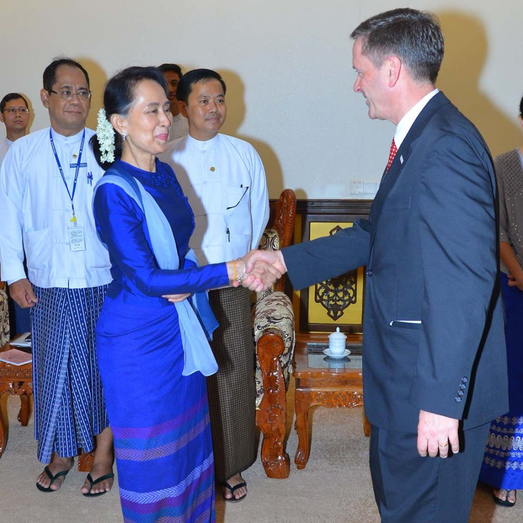State Counsellor Daw Aung San Suu Kyi welcomes Mr. Mark Andrew Green, Administrator of the United States Agency for International Development, in Nay Pyi Taw.Photo: MNA