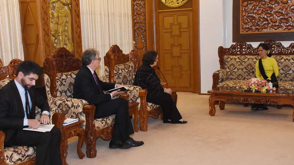 State Counsellor Daw Aung San Suu Kyi receives Ms. Mary Ann Peters in Nay Pyi Taw.Photo: MNA