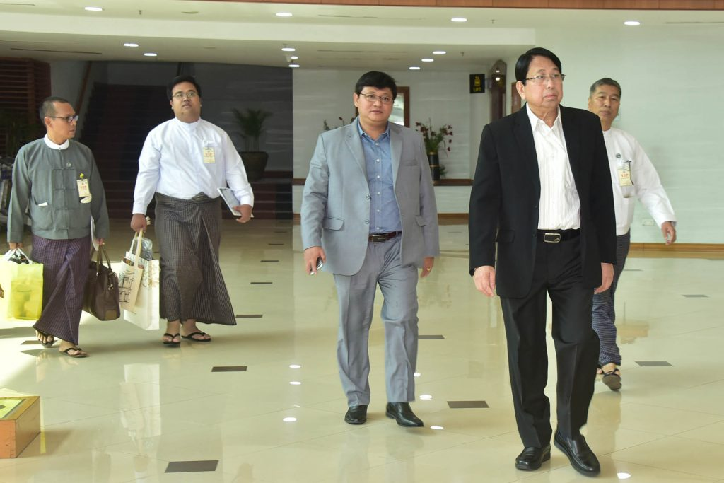Union Minister for Information Dr. Pe Myint welcomed at the Yangon International airport by officials. Photo: MNA
