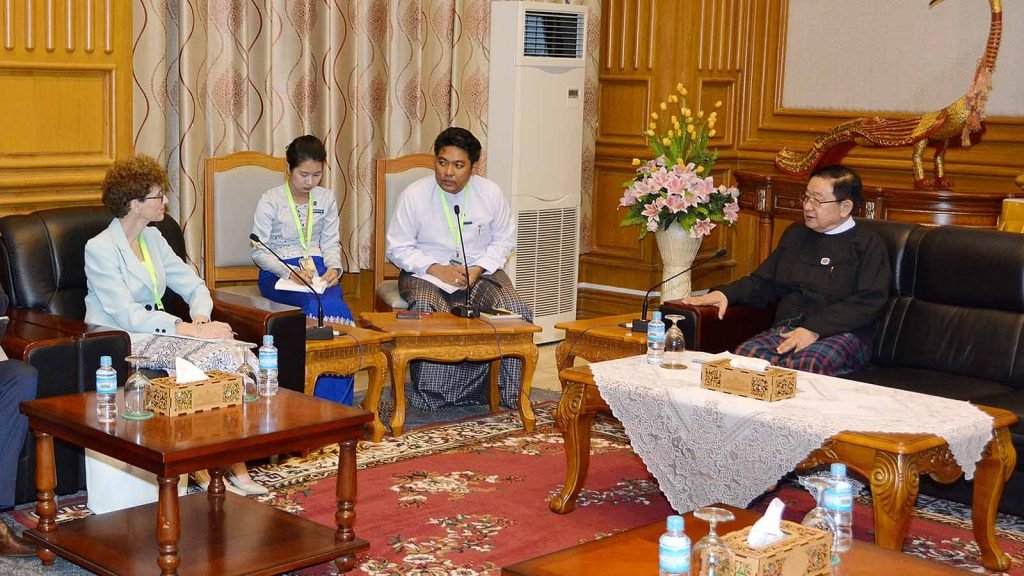 Pyithu Hluttaw Speaker U T Khun Myat meets with World Bank Country Director Ms. Ellen Goldstein in Nay Pyi Taw.Photo: MNA