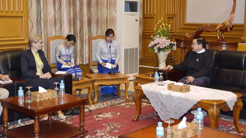 Pyithu Hluttaw Speaker U T Khun Myat meets with Norwegian Ambassador Ms. Tone Tinnes in Nay Pyi Taw.Photo: MNA
