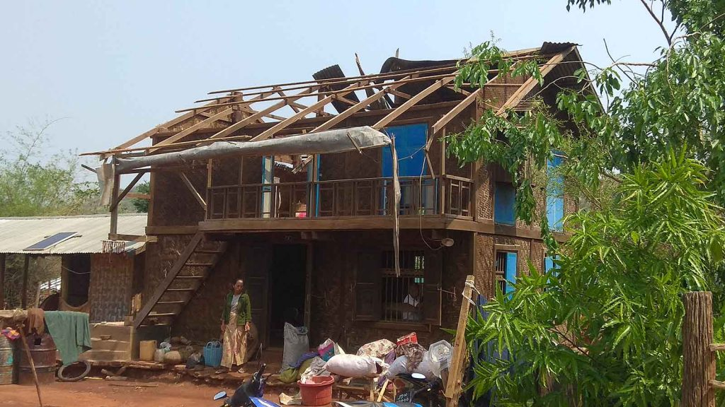 House damaged by strong winds. Myanmar Red Cross Society setting up to conduct disaster and emergency management plan in Mandalay Region.Photo: Aung Thant Khine