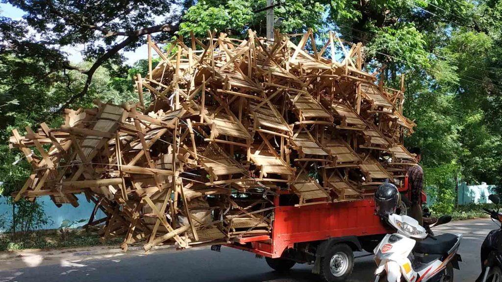 Chairs made with toddy-palm are seen in the car. Photo: Zaw Zaw (IPRD)