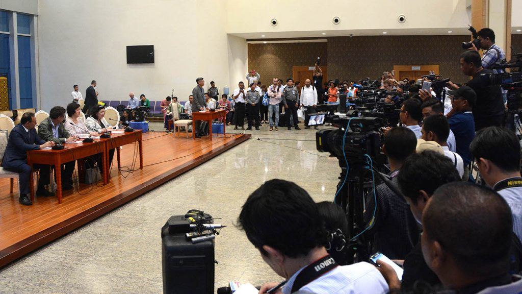 UNSC delegation at the press conference on their visits to Myanmar and Bangladesh in Nay Pyi Taw yesterday. Photo: MNA