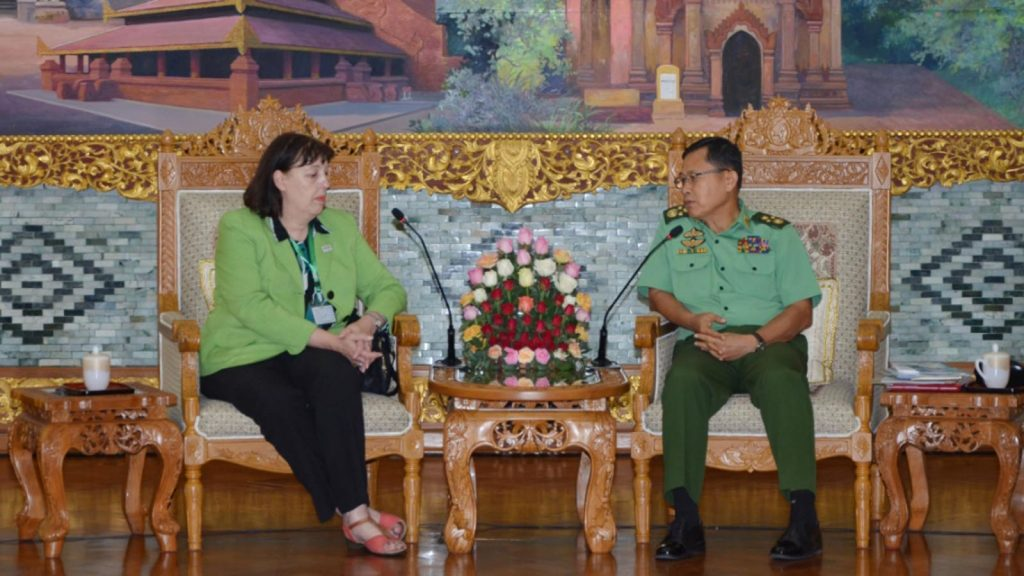 Vice Senior General Soe Win meets with UNSG Special Representative for Children and Armed Conflict Ms. Virginia Gamba. Photo: MNA