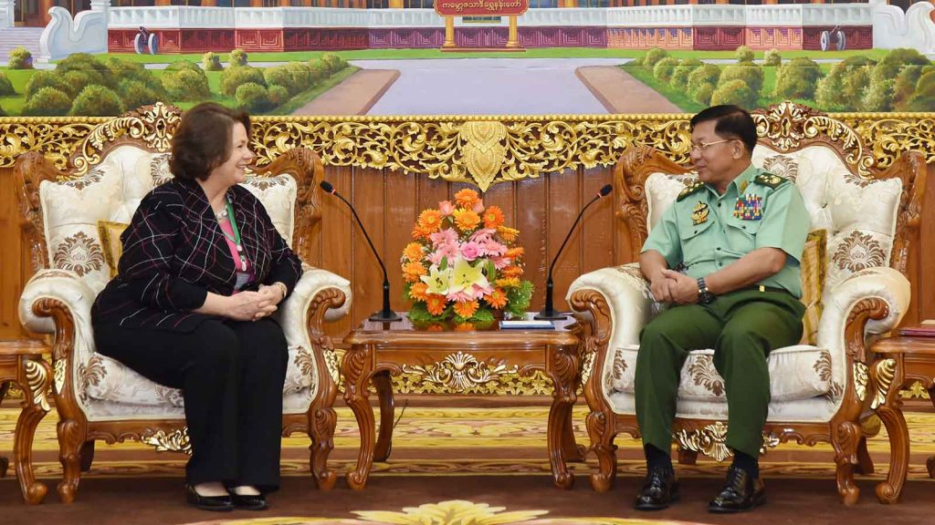 Senior General Min Aung Hlaing receives Carter Center CEO Ms. Mary Ann Peters in Nay Pyi Taw.Photo: MNA