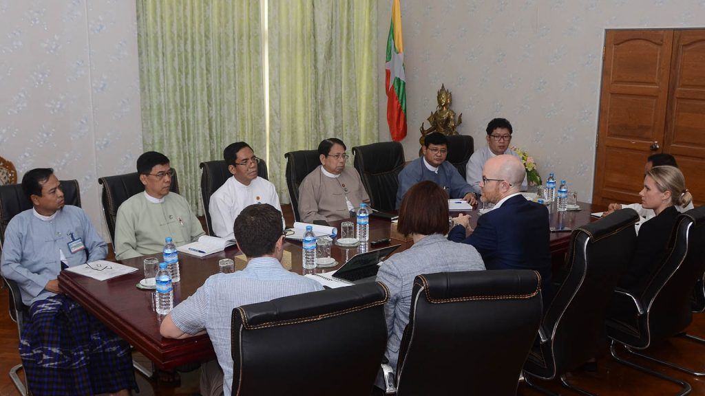 Union Minister for Information Dr Pe Myint meets with Facebook Vice President Mr. Simon Milner at the Ministry of Information yesterday.Photo: Myanmar News Agency