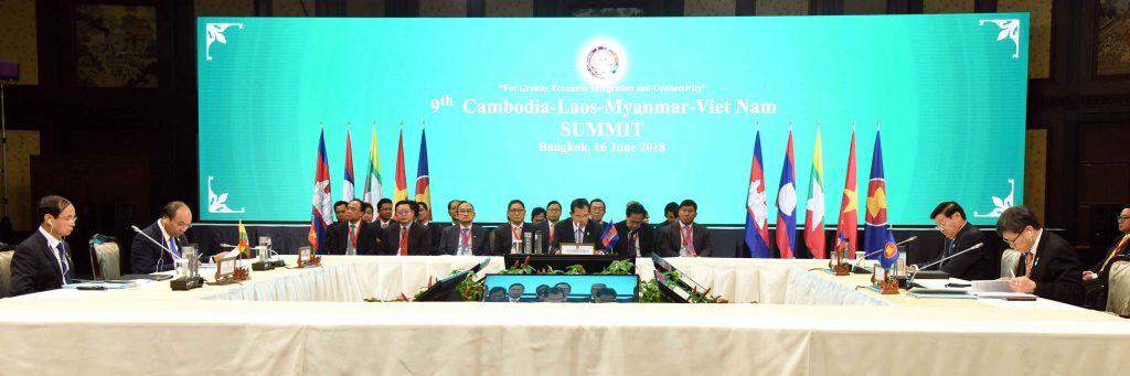 President U Win Myint attends the 9th Cambodia-Lao-Myanmar-Viet Nam (9th CLMV) Summit in Bangkok on 16 June 2018. Photo: MNA