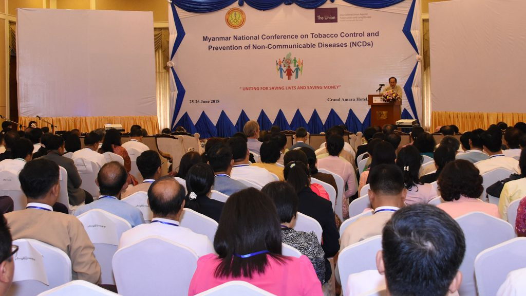 Union Minister Dr Myint Htwe delivers the speech at the Myanmar National Conference on Tobacco Control and Prevention of NCDs in Nay Pyi Taw yesterday.Photo: MNA