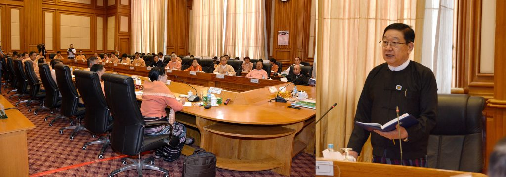 Pyithu Hluttaw Speaker U T Khun Myat delivers a speech at the coordination meeting at Zabuthiri meeting hall in Hluttaw Building, Nay Pyi Taw yesterday. Photo: MNA