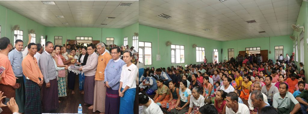 Union Minister for Social Welfare, Relief and Resettlement Dr. Win Myat Aye presenting assistance for flood victims.Photo: mna