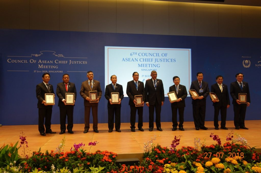 Chief Justice U Htun Htun Oo seen together with his counterparts at the launch ceremony of the ASEAN Judiciaries Portal (AJP) and the 6th Council of ASEAN Chief Justices (CACJ) meeting.Photo: MNA