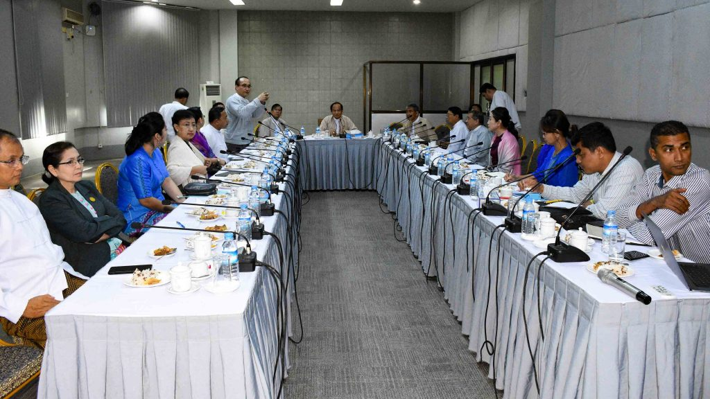 Union Minister Dr. Myint Htwe takes part at a meeting for Myanmar's emergency medical treatment and research. Photo: MNA