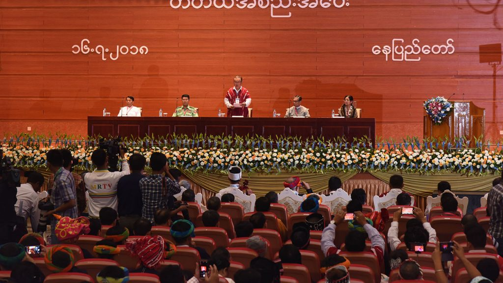Pado Saw Kwe Htoo Win delivers speech at closing of the 3rd Session of Union Peace Conference.Photo: MNA