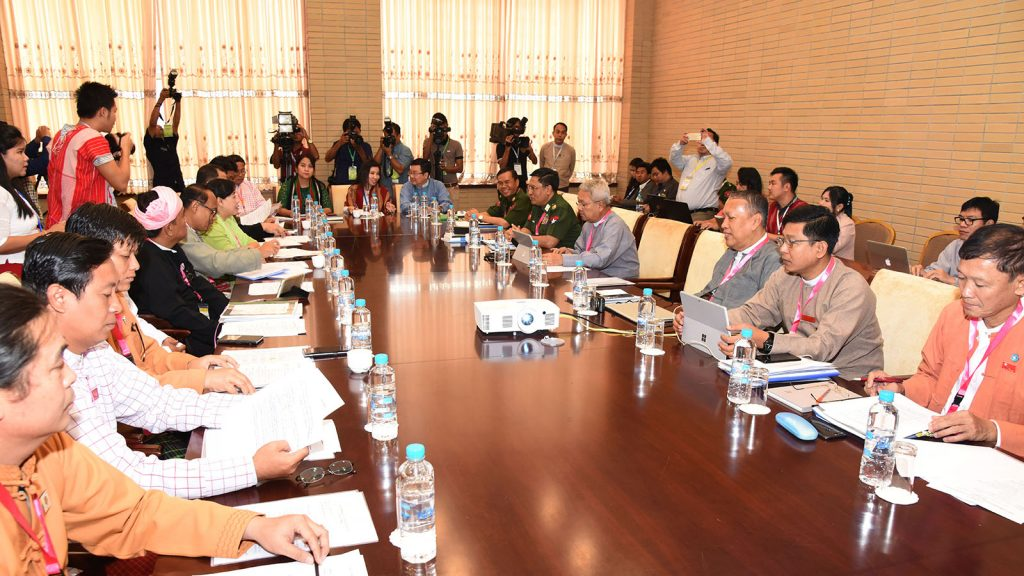 Officials taking part in the Union Peace Dialogue Joint Committee Secretariat meeting .Photo: MNA