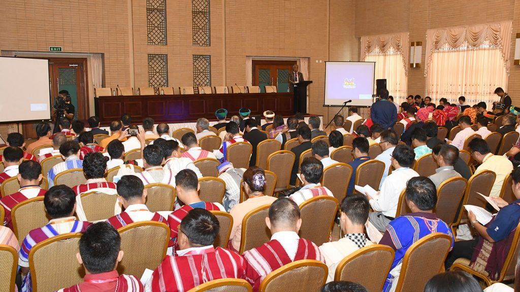 Representatives from the ethnic armed organizations participate in a sector-wise meeting of the third session of the Union Peace Conference-21st Century Panglong in Nay Pyi Taw yesterday. Photo: MNA