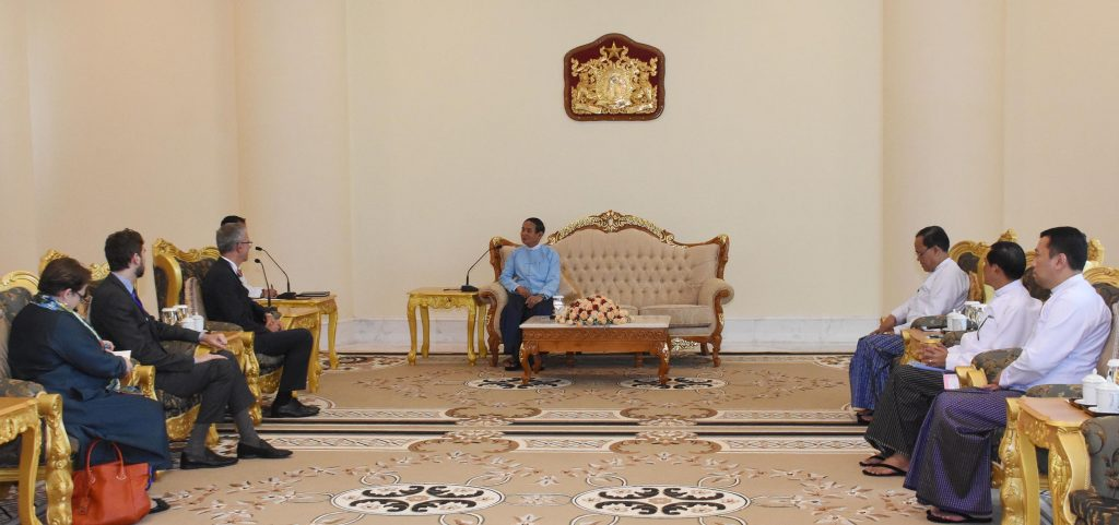 President U Win Myint meets with Ambassador of Switzerland Mr. Paul Rene Seger in Nay Pyi Taw yesterday.Photo: MNA