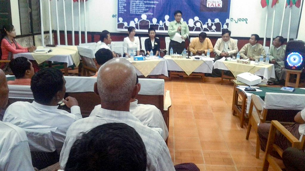 Dialogue and roundtable talk being held in Kyauktaga Township. Photo: maung shwe win (pyay)