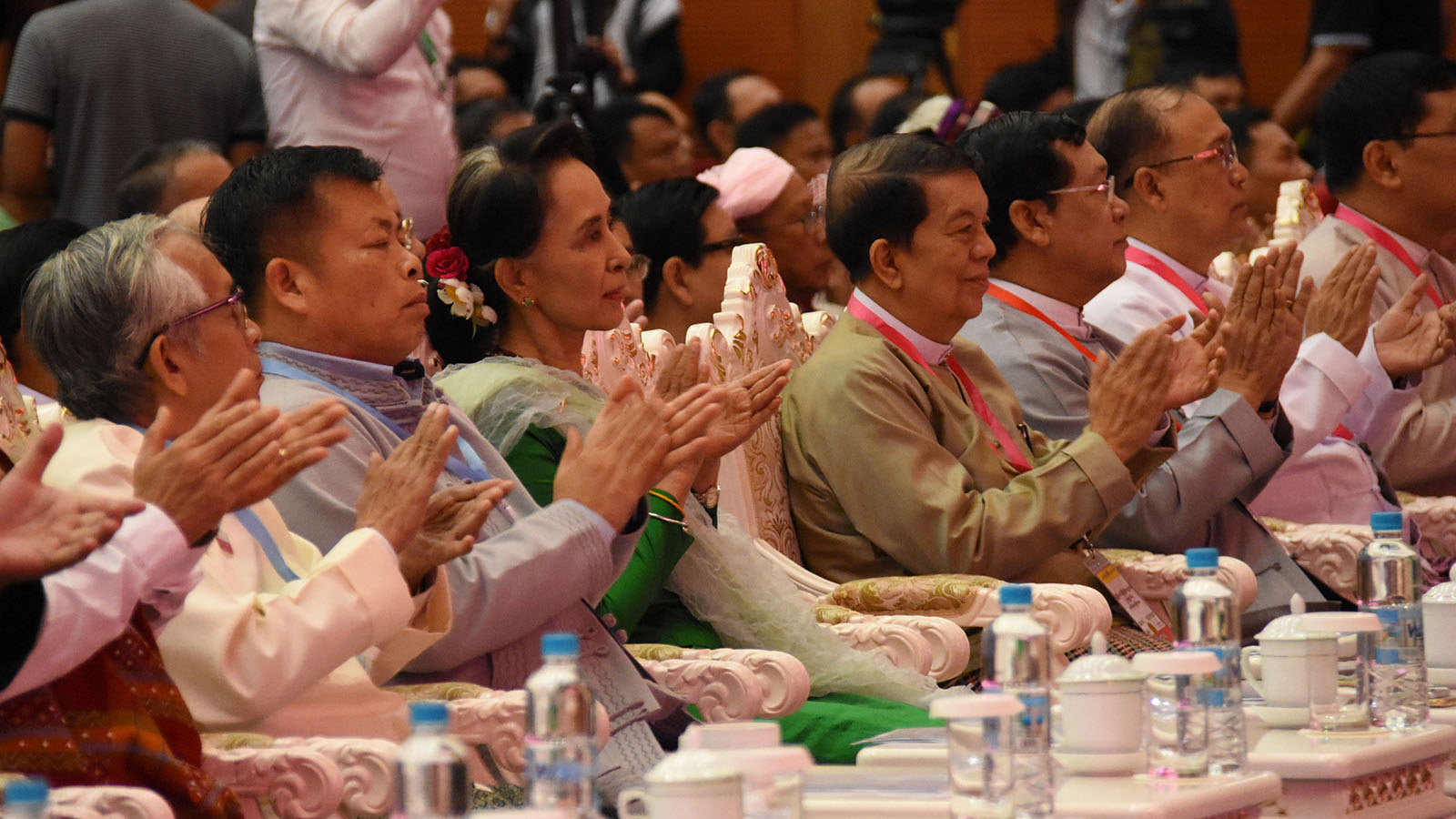 State Counsellor Daw Aung San Suu Kyi, third from left, attends the closing ceremony of the Third Session of the Union Peace Conference-21st Century Panglong in Nay Pyi Taw.Photo: MNA