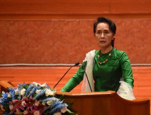 State Counsellor Daw Aung San Suu Kyi delivers a speech at the closing ceremony of the Third Session of the Union Peace Conference—21st Century Panglong.Photo: MNA