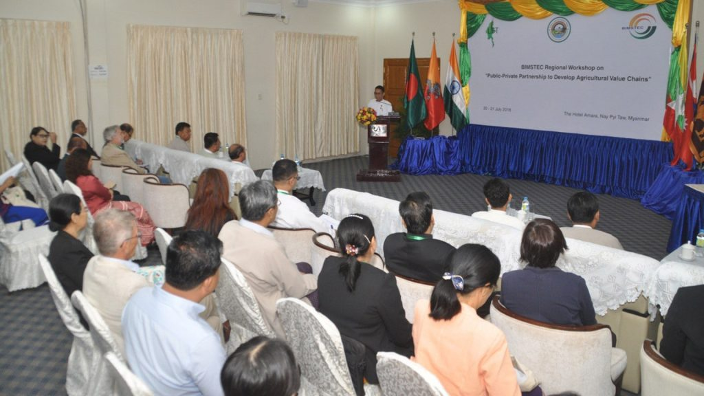 Union Minister Dr. Aung Thu delivers a speech at the opening ceremony of the workshop for agricultural interconnectivity development in the BIMSTEC region.Photo: MNA