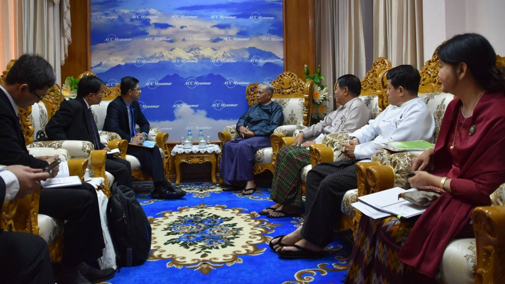 Anti-Corruption Commission Chairman U Aung Kyi receives Vice-Chair of Indonesia's Corruption Eradication Commission (KPK) Mr. Laode Muhammad Syarif in Nay Pyi Taw.Photo: MNA