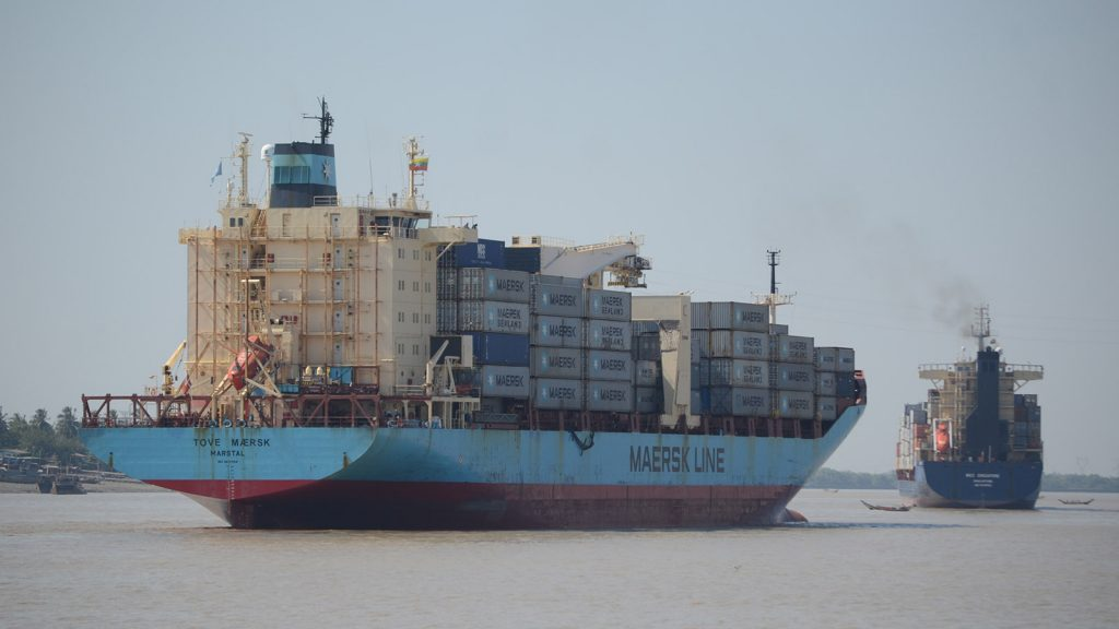 Cargo ships carrying goods are seen in Yangon River . Photo: Phoe Khwar