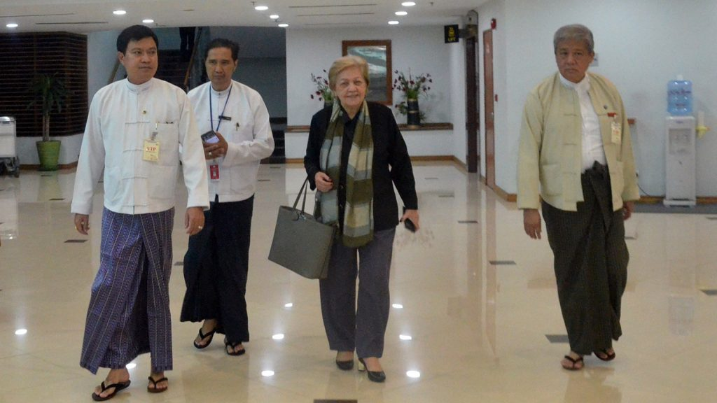 Ambassador Rosario Manalo, Independent Commission of Enquiry Chairperson (Centre) is welcomed by officials.  Photo: MNA