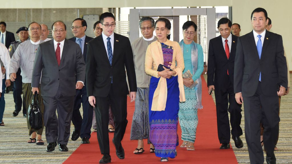 State Counsellor Daw Aung San Suu Kyi being seen off at the Nay Pyi Taw  International Airport.  Photo: Myanmar News Agency