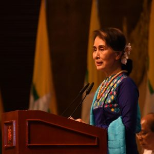 State Counsellor Daw Aung San Suu Kyi delivers address at meeting with business leaders in Nay Pyi Taw yesterday. Photo:MNA