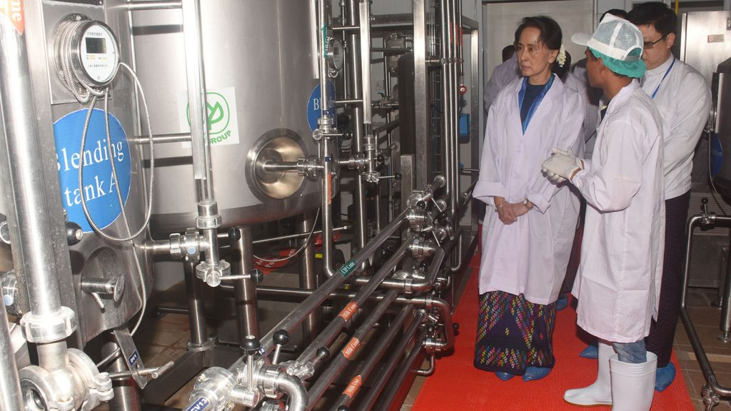State Counsellor Daw Aung San Suu Kyi visits Nay Pyi Taw dairy farm, pasteurised milk factory in Nay Pyi Taw yesterday.Photo: MNA