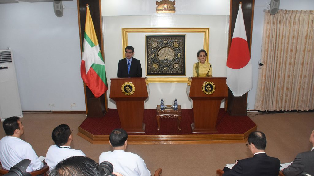 State Counsellor and Union Minister for Foreign Affairs Daw Aung San Suu Kyi holding a joint press conference with Minister for Foreign Affairs of Japan Mr. Taro Kono yesterday.Photo: MNA