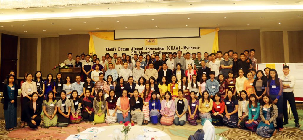 Participants pose for a documentary at the fifth Child's Dream Alumni Association (CDAA) Myanmar Conference.photo: MNA