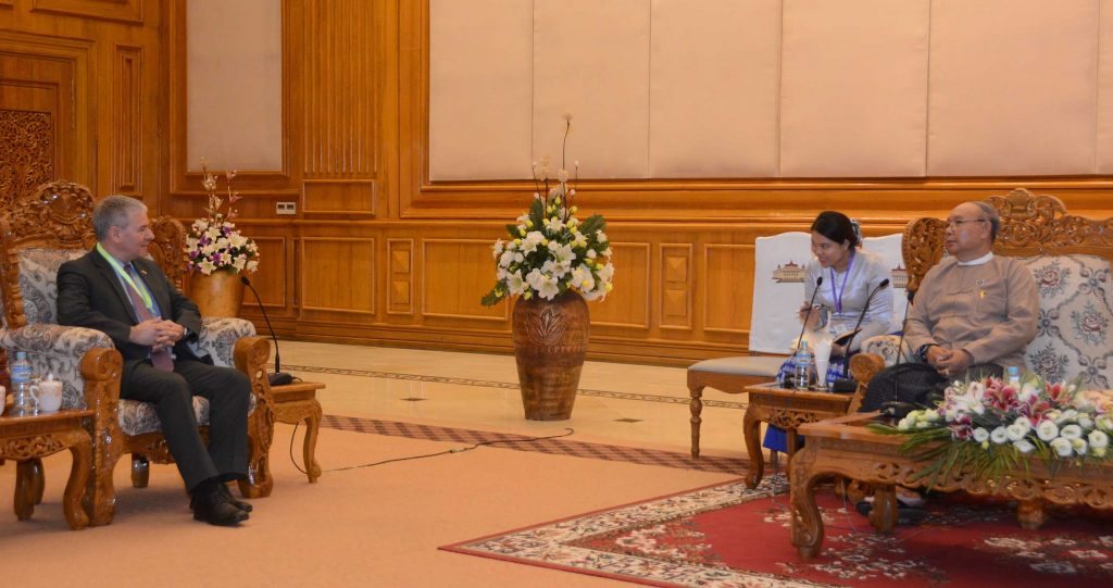 Amyotha Hluttaw Speaker Mahn Win Khaing Than receiving Israel Ambassador to Myanmar Mr. Daniel Zonshine in Nay Pyi Taw. Photo: MNA