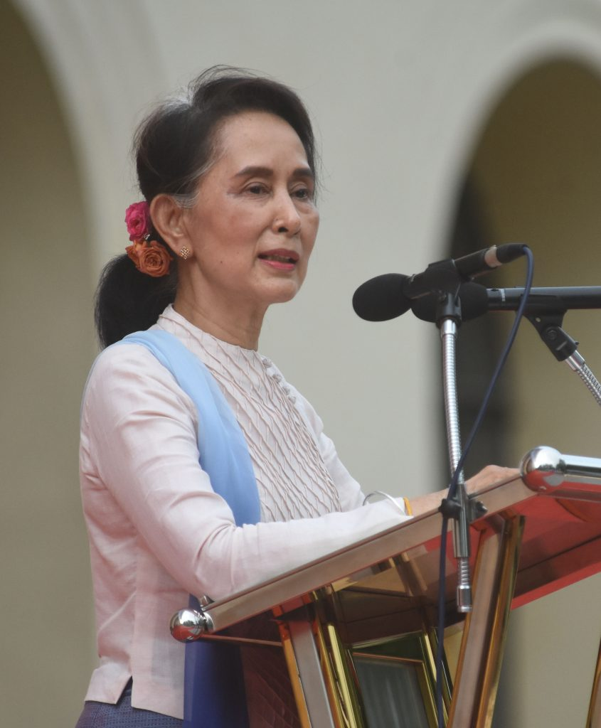 State Counsellor Daw Aung San Suu Kyi delivers the opening speech at the opening ceremony of Youth All-Round Development Festival at the Mandalay University, Mandalay Region yesterday. Photo: MNA