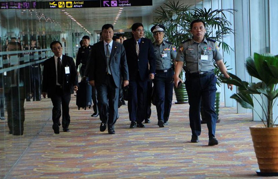 Union Minister Lt-Gen Kyaw Swe leaving Yangon International Airport for the 7th Bali Process Ministerial Conference in Indonesia. Photo: MNA