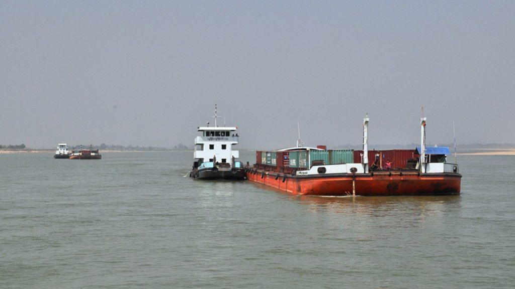 Ships anchored in the Ayeyawady River. Photo: Khine Set Wai