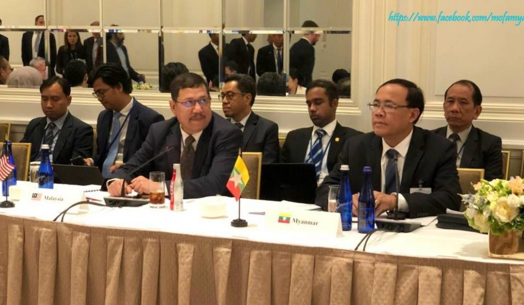 Union Minister for International Cooperation U Kyaw Tin attending the Informal ASEAN-US Ministerial at Lotte Hotel in New York yesterday.Photo: mna