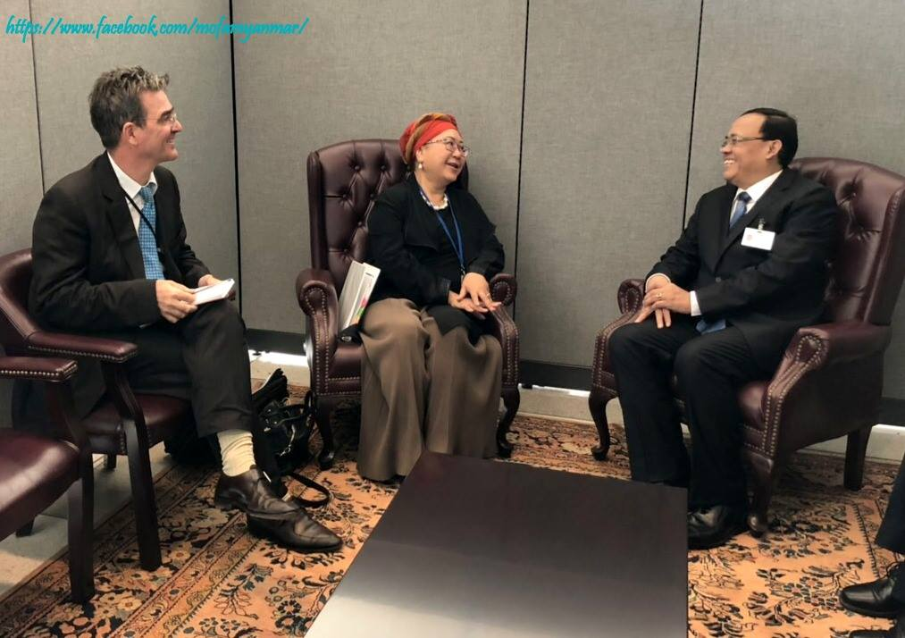 Union Minister for International Cooperation U Kyaw Tin meeting with Chair of International Federation of Red Cross and Red Crescent Societies Dr. Jemilah Mahmood at the UN Headquarters in New York yesterday.Photo: mna