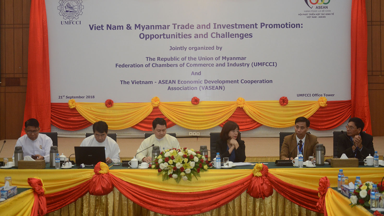 Viet Nam-Myanmar Trade & Investment Promotion event being held at UMFCCI in Yangon yesterday.Photo: Phoe Khwar