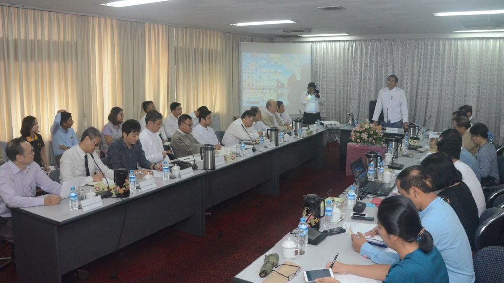 Deputy Minister for Information U Aung Hla Tun addresses the meeting of Broadcasting Governing Body in Yangon.Photo: MNA
