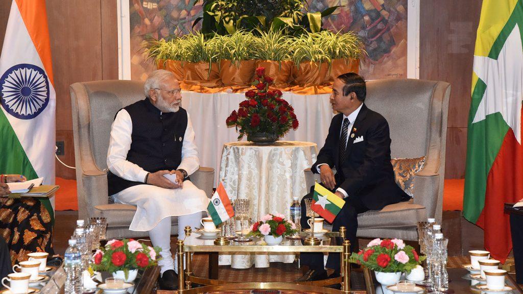 President U Win Myint meeting with Indian Prime Minister Shri Narendra Modi in Kathmandu, Nepal, yesterday.Photo: MNA